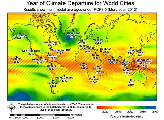 Year of climate departure for world cities