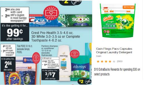 FREE Gain, Pantene, Crest & Tide Pods at CVS