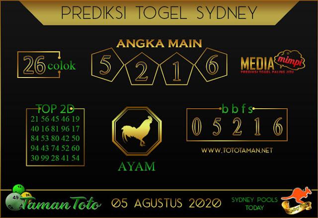 Prediksi Togel SYDNEY TAMAN TOTO 05 AGUSTUS 2020