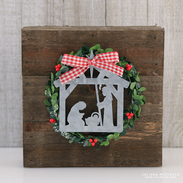Wood Plank Christmas Nativity Decoration made using Jillibean Soup Mix The Media 6x6 Wood Plank created by Juliana Michaels