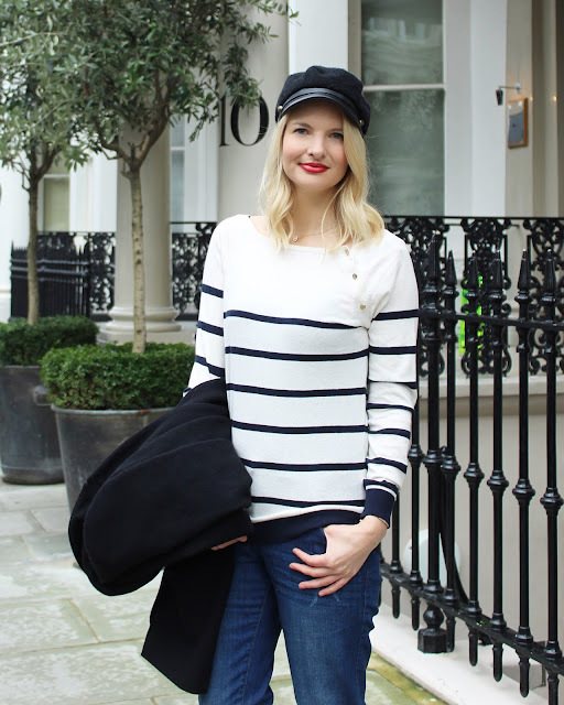 lfw look, london fashion week outfit, striped jumper, black coat, london street style, boyfriend jeans