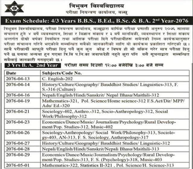 Exam routine of BA 2nd year 2076