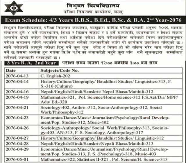 Exam routine of BA 2nd year 2076