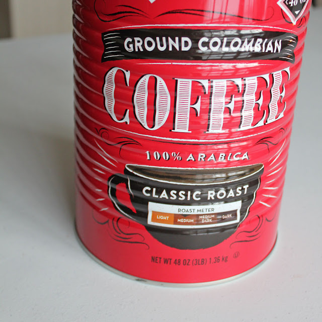 Red vintage Ground Columbian Coffee can