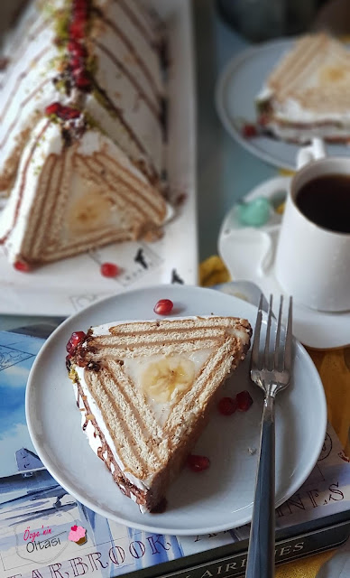 muzlu bisküvili piramit pasta