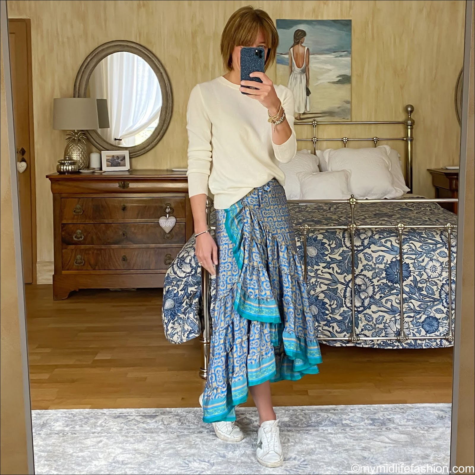 my midlife fashion, marks and Spencer pure cashmere crew neck jumper, Forage Somerset rah rah silk wrap sari skirt, golden goose superstar low top leather trainers
