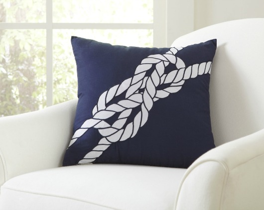 Navy Blue Pillow with Rope Design