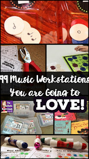 A HUGE list of Music Workstations for the elementary music classroom.  You are going to love these center ideas for pitch, rhythm, singing, composing, playing instruments and more.