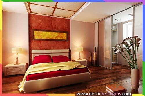 غرف نوم احمر ياقوت مع الذهبي للمتزوجين