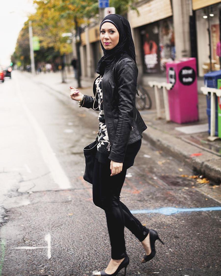 Seluar ketat Jeans Tudung seksi Hijab HItam