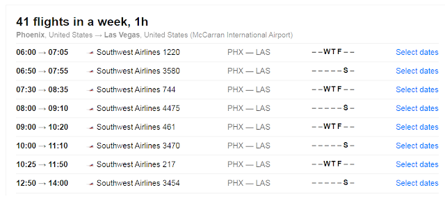 USD 49 Southwest Flights From Phoenix to Las Vegas Time Schedule