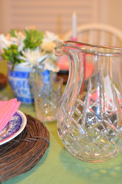 waterford pitcher; Easter table; easter tablescape; easter dinner