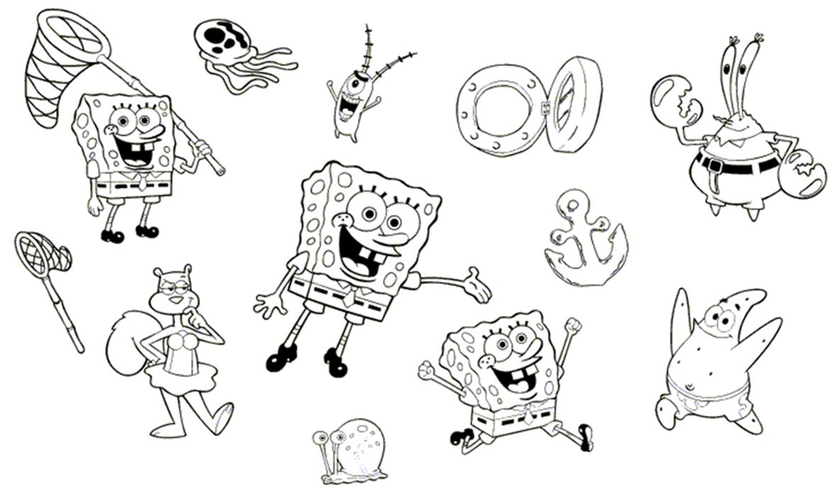 Dibujos Para Colorear De Bob Esponja Bebe: Bob Esponja Y Sus Amigos Para Colorear