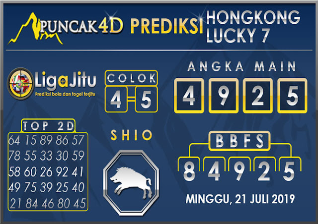 PREDIKSI TOGEL HONGKONG LUCKY7 PUNCAK4D 21 JULI 2019