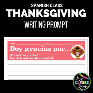 Lista lunes - Thanksgiving in Spanish class - shared by Mis Clases Locas