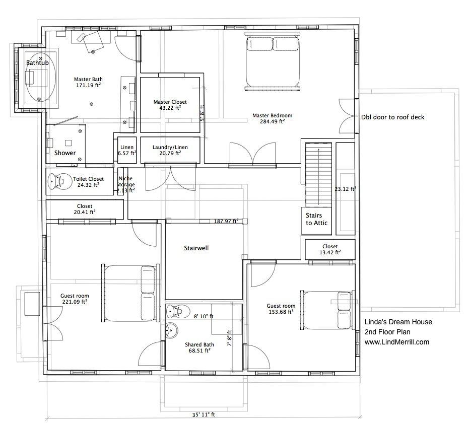 Linda's Dream House: 2nd Floor Plan And Master Bathroom