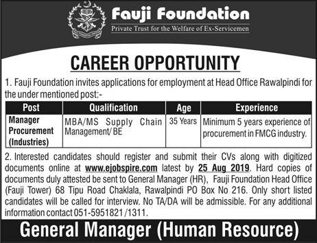 Advertisement for Fauji Foundation Jobs