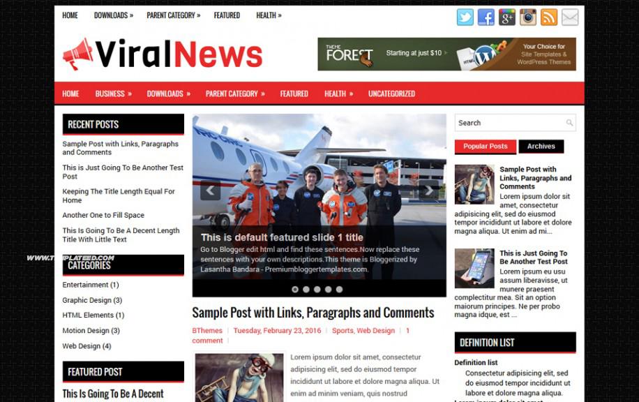 ViralNews Responsive Blogger Template