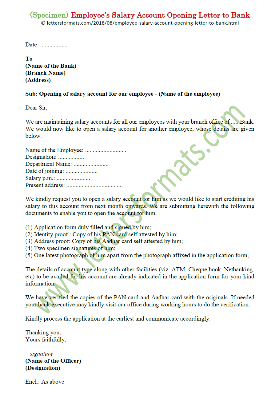Employee Salary Account Opening Letter to bank from company