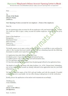 staff salary account opening letter format