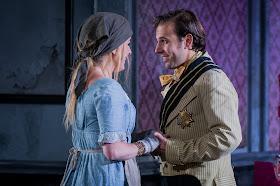 Victoria Simmons as Angelina and Nico Darmanin as Prince Ramiro in La Cenerentola at Opera Holland Park. Photographer Robert Workman