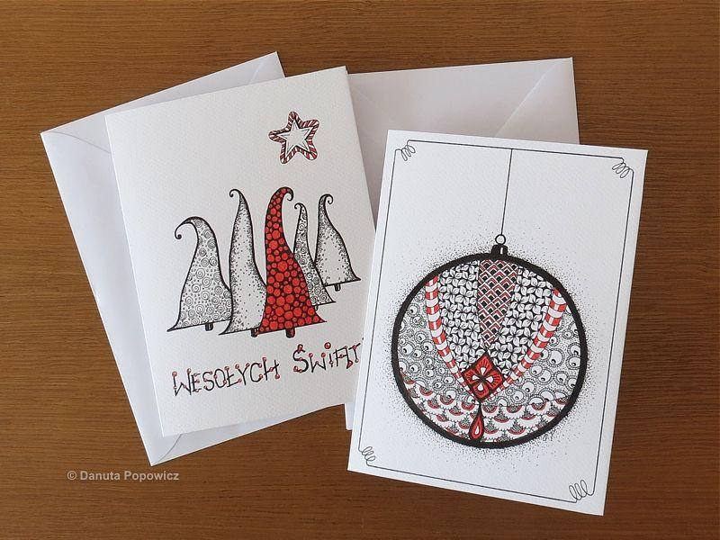 Ręcznie robione kartki świąteczne w stylu Zentangle