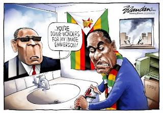 Mugabe admonishing Mnangagwa