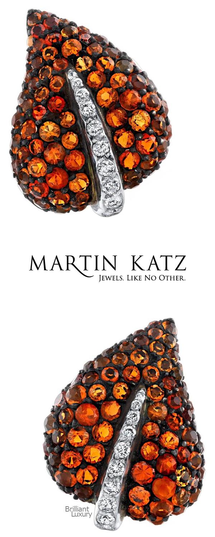 Brilliant Luxury♦Martin Katz fire opal & diamond ivy clip-on earrings