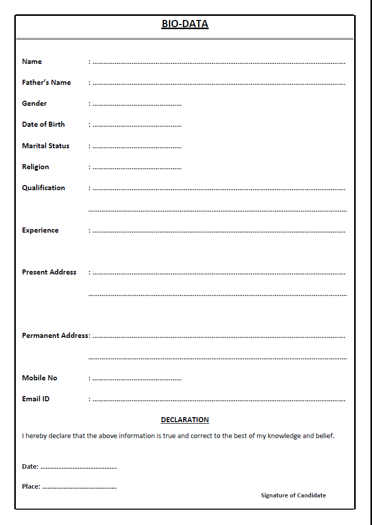 marriage biodata format - biodata for marriage