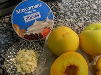 Ingredientes para rellenar los melocotones.
