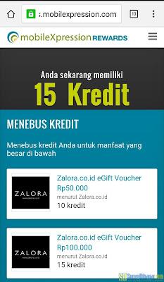 Proses penukaran poin MobileXpression dengan voucher belanja gratis dari Zalora | SurveiDibayar.com