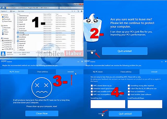 MPC Cleaner programı bilgisayardan kaldırma (uninstall)