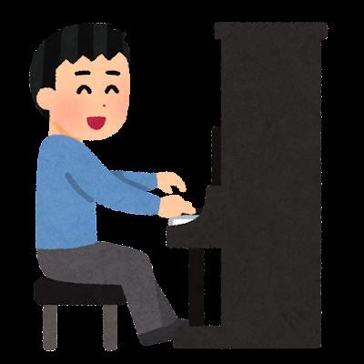 アップライトピアノを弾く人のイラスト(男性)