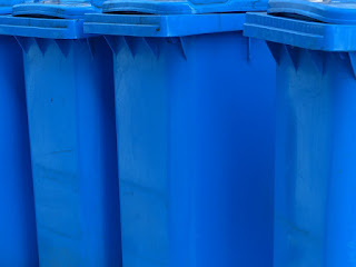 blue recycling wheelie bins