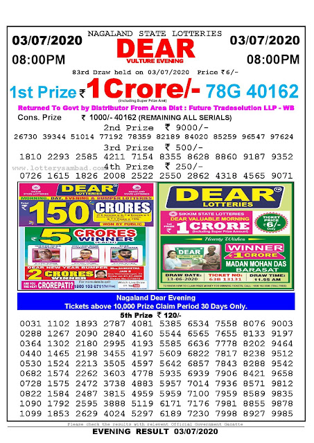 Nagaland State Lotteries 03-07-2020 Lottery Sambad Result 800 PM