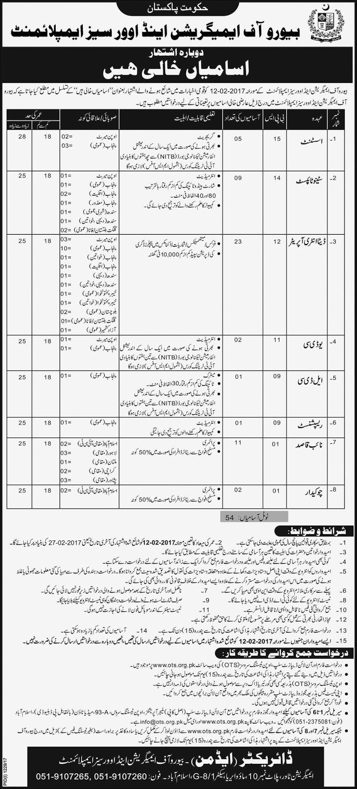 jobs in Bureau Of Emigration And Overseas Employment Islamabad aug 2017