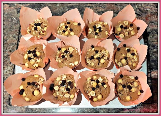 Muffins de Nocilla y Avellanas recién hechos