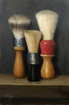 Vintage shaving brushes, brush handles, barber brush