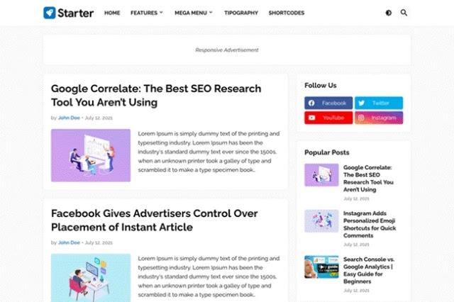 Starter blogger template