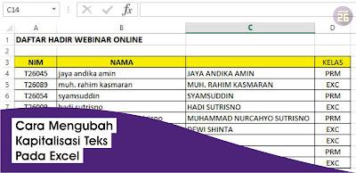 Mengubah Huruf Kecil ke Huruf Besar Excel