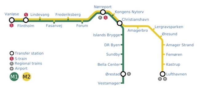 Plano del metro de Copenhague