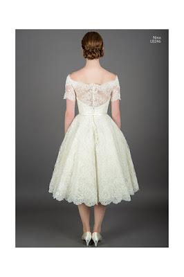 Nina Lace off shoulder short wedding dress back side