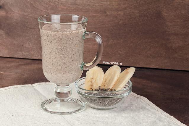 смузи с чиа, бананом и молоком рецепт с фото