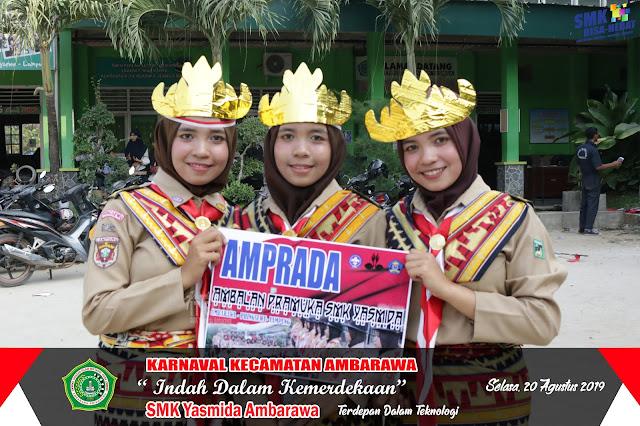 Karnaval HUT RI Ke 74, Pramuka SMK Yasmida Angkat Tema Adat Lampung