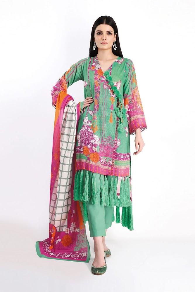 Khaadi lawn shirt & Shalwar with Dupatta Green printed color