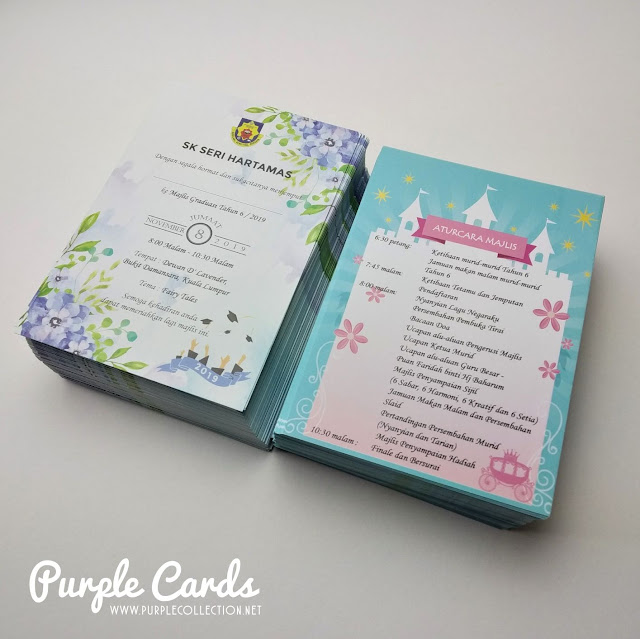 kad undangan, invitation card, graduation, students, mortar board, programs, printer, supplier, vendor, kuala lumpur, selangor, express, offset, digital, envelope, watercolour floral design, blue, fairy tales, flower, designer