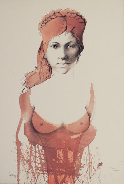 Glauco Capozzoli dibujo coloreado retrato joven con sombrero