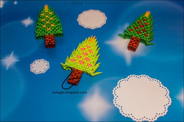 627. Choineczki z origami / 3d origami small christmas trees