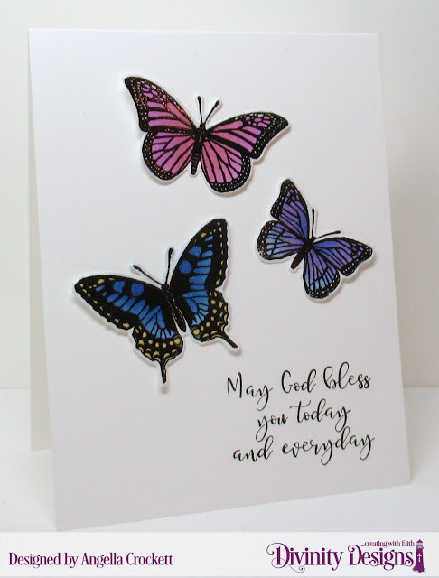 Divinity Designs Trois Jolies Papillons (retired) and Today and Everyday; Card Designer Angie Crockett
