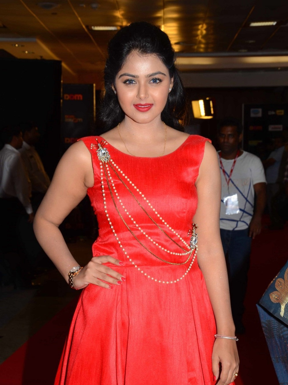 Monal Gajjar Photos In Red Dress At Cinemaa Awards
